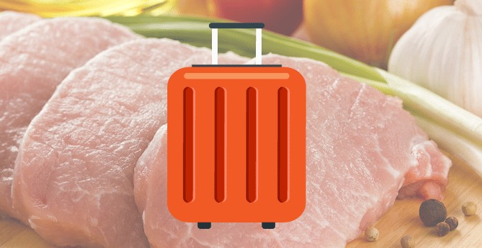 Viande en bagage cabine